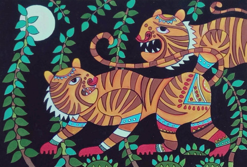 madhubani,mithila,indian exotoc art,murals,tigers,sunderbans,tigers of the sunderbans,ART_1315_11234,Artist : Sujan Babu,Water Colors