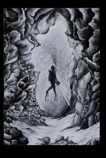 deep,sea,dive,stone,water,Diver,ART_35_11215,Artist : Saikat Choudhury,Charcoal