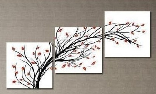 Progress - 72in x 24in (24in X 24in each X 3pcs),RTCSD_08_7224,Multipiece,Museum Quality,Abstract,Fresh,Morning,Floral,Flowers  - 100% Handpainted Buy Painting Online in India.