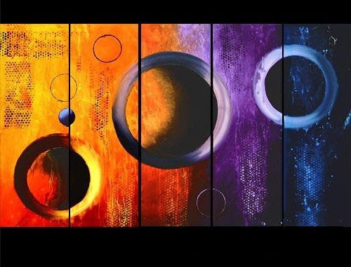 Circles of Continuity01 - 50in x 30in (10in X 30in each X 5pcs),RTCSD_10_5030,Multipiece,Museum Quality,Abstract,Fresh - 100% Handpainted Buy Painting Online in India.