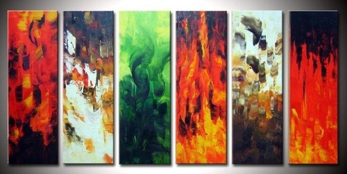Magic of Colors  - 60in x 30in (10in X 30in each X 6pcs),RTCSD_11_6030,Multipiece,Museum Quality,Abstract,Fresh - 100% Handpainted Buy Painting Online in India.