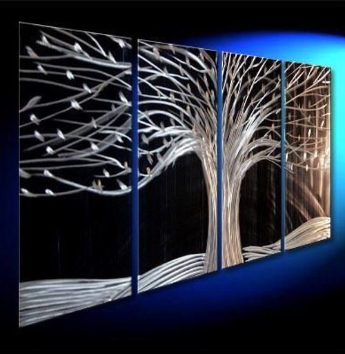 Silver Tree - 64in X 24in (16in X 24in each X 4 pcs.),RTCS_67_6424,Acrylic Colors,Canvas,Community Artists Group,Museum Quality - 100% Handpainted