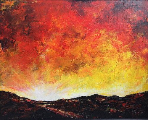 Abstract landscape painting ,Abstract landscape painting,ART_1842_14927,Artist : Neelam Sharma,Acrylic