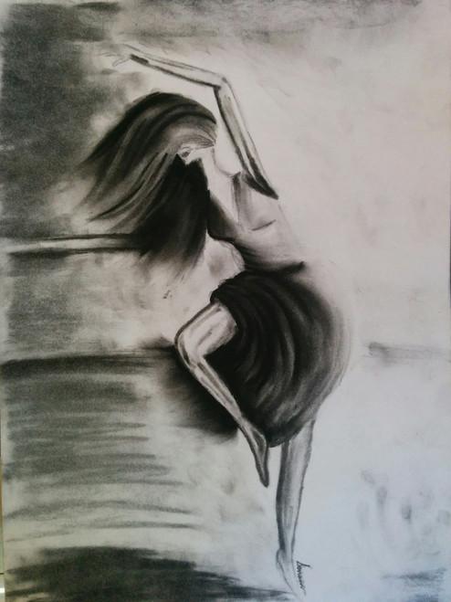 Dance woman ballet ballerina,Dance like everyone's watching,ART_1786_15019,Artist : Sonam  Pama,Charcoal