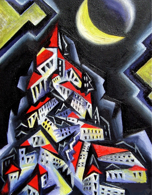 cityscape paintings,buildings paintings,Moon with buildings paintings,The Moonlight Building,MTO_1550_15009,Artist : Community Artists Group,Mixed Media