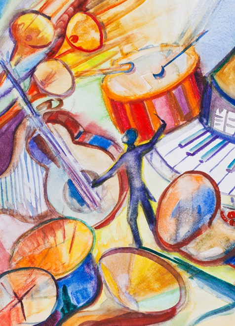 music instrument paintings,instruments paintings,The Melody World,MTO_1550_14995,Artist : Community Artists Group,Mixed Media