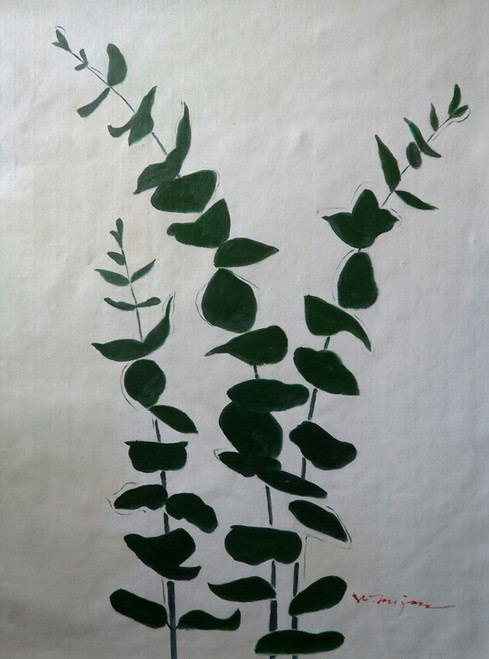 green leaves painting,leave paintings,tree paintings,Green Leaves,MTO_1550_14992,Artist : Community Artists Group,Mixed Media
