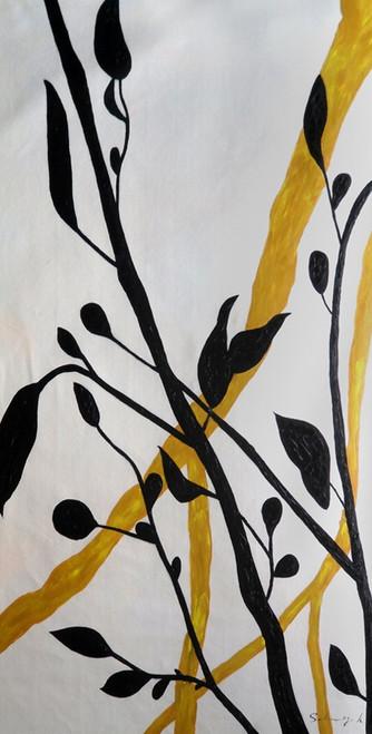 tree paintings,leaves paintings,Juicy Black Leaves,MTO_1550_14990,Artist : Community Artists Group,Mixed Media