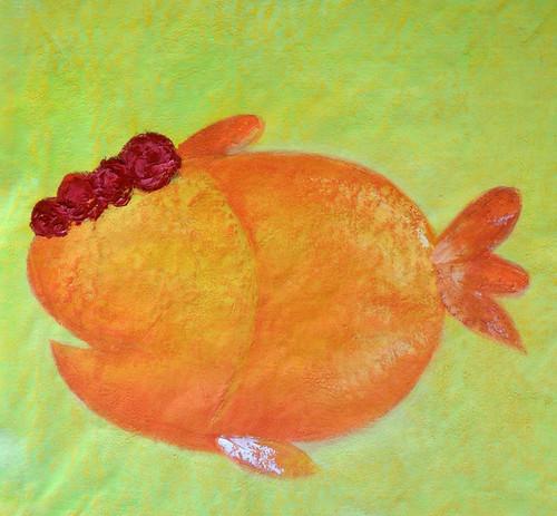 fish paintings,fish cartoon paintings,cute paintings,The Hidden Fish,MTO_1550_14988,Artist : Community Artists Group,Mixed Media