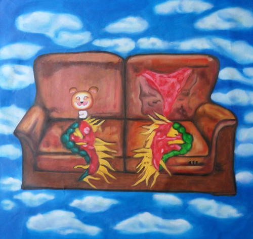 cartton paintings,cute paintings,The Floating Childhood,MTO_1550_14987,Artist : Community Artists Group,Mixed Media