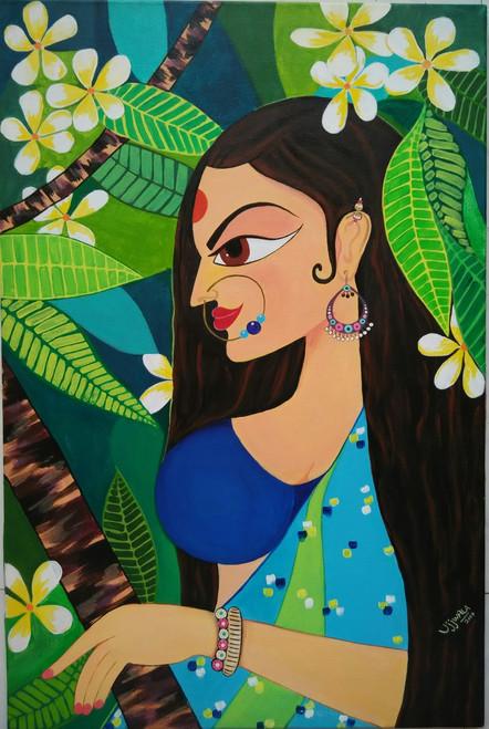 ,Fulva - Royal lady in Flower,ART_1243_14964,Artist : Ujwala Chavan,Acrylic
