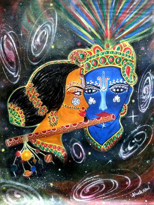 Radhe,Krishna,Love,Romance,Eternal,Beauty,universe.,Radhe Krishna,ART_1856_14939,Artist : Shweta H Kaul,Acrylic