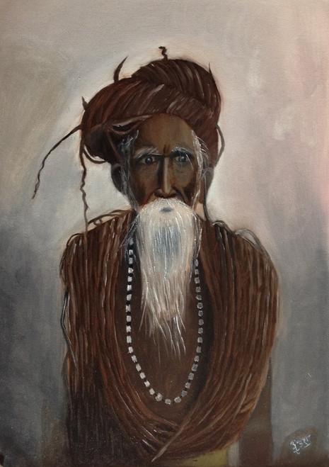 Sadhu, saint, monk, varanasi, peace, religion, portrait,An ascetic monk,ART_1798_14792,Artist : Ankush Bhayekar,Oil