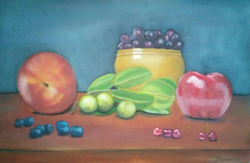 fruits, fruity love, still life paintings etc,Fruity Love,ART_199_10911,Artist : Yacinta Fernandes,Oil