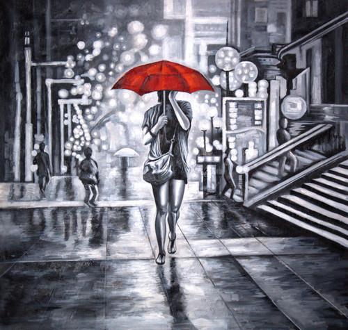 ,Red umbrella with lady,ART_1522_15152,Artist : Ram Achal,Acrylic