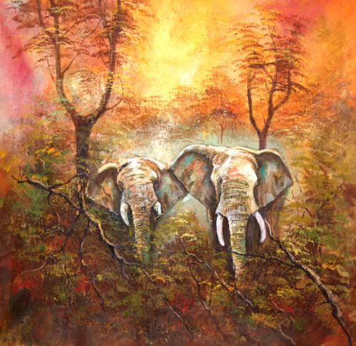 Room decor ,Good morning,ART_1522_15150,Artist : Ram Achal,Acrylic