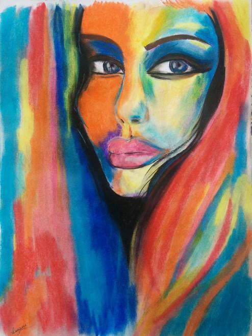 Rainbow woman pop-art,Hues,ART_1786_15140,Artist : Sonam  Pama,Pastels
