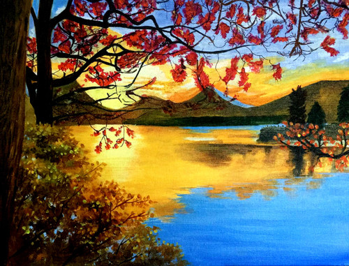 landscape, sunset, sunrise, colorful, multi colour, nature, trees, river, sky, forest, solitary., peace,The solitary,ART_1877_15167,Artist : Neha Mantry,Acrylic