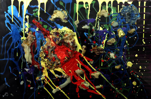 modern art, abstract, acrylic, multi colour, candle, wax, ,The Meltdown,ART_1877_15151,Artist : Neha Mantry,Mixed Media