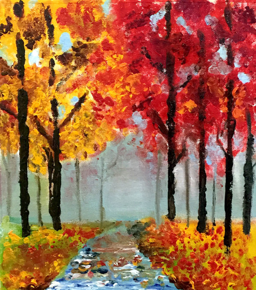 landscape, nature, trees, autumn, seasons, peace, forest, beauty, natural, river, red leaves,The Autumn,ART_1877_15138,Artist : Neha Mantry,Oil