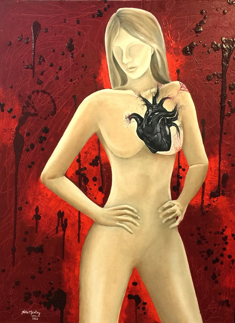 feminist, painting, potraits, social, oil painting, oil, canvas, semi nude,THE LADY WITH BLACK HEART,ART_1877_15135,Artist : Neha Mantry,Oil