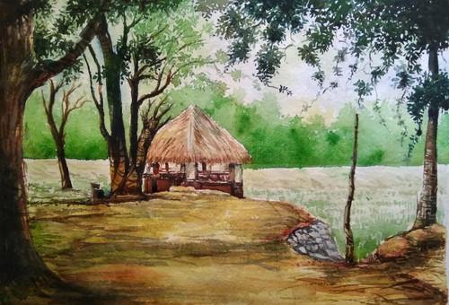 Peace, landscape, hut, watercolour Santosh Loni ,A hut,ART_715_15115,Artist : Santosh Loni,Water Colors