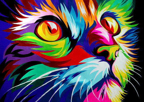 colorful cat paintings,56Anm95,MTO_1550_15173,Artist : Community Artists Group,Mixed Media