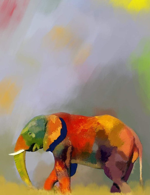 colorful cute elephant paintings,56Anm86,MTO_1550_15165,Artist : Community Artists Group,Mixed Media