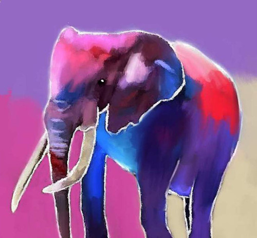 colorful elephant paintings,56Anm85,MTO_1550_15164,Artist : Community Artists Group,Mixed Media