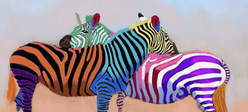 colorful zebra paintings,56Anm83,MTO_1550_15162,Artist : Community Artists Group,Mixed Media