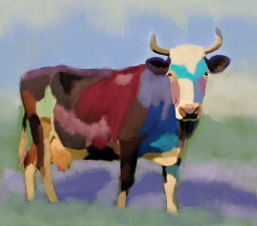cow paintings,56Anm72,MTO_1550_15129,Artist : Community Artists Group,Mixed Media