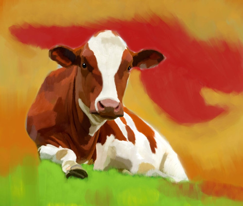 cow paintings,56Anm65,MTO_1550_15122,Artist : Community Artists Group,Mixed Media