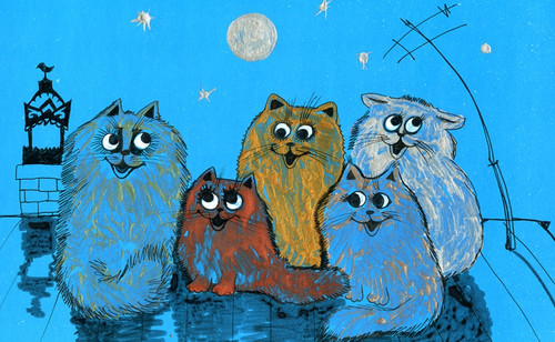 cat paintings,cute cat paintings,56Anm147,MTO_1550_15224,Artist : Community Artists Group,Mixed Media