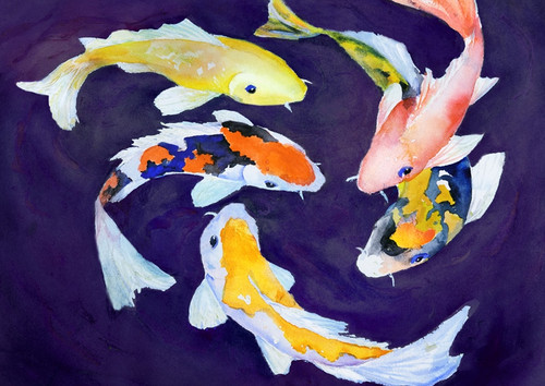 fish paintings,56Anm135,MTO_1550_15220,Artist : Community Artists Group,Mixed Media