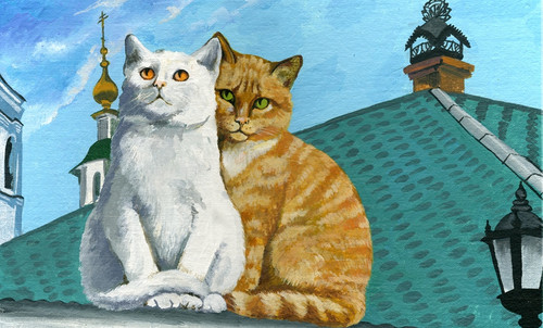 cat paintings,56Anm121,MTO_1550_15216,Artist : Community Artists Group,Mixed Media