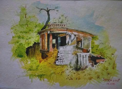 Thematic home watercolour Santosh Loni Village indai nature landscape ,Thematic,ART_715_15195,Artist : Santosh Loni,Water Colors