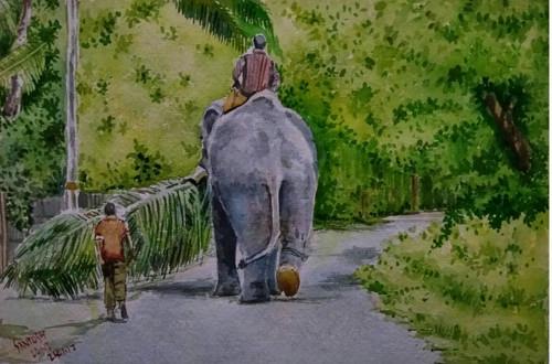 Elephant watercolour Santosh Loni ,Elephant and greenery,ART_715_15190,Artist : Santosh Loni,Water Colors