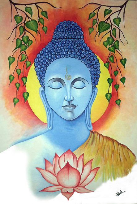 Buddha painting in meditation under peepal tree,Buddha with Meditation,ART_1739_15364,Artist : Ravi Borade,Acrylic