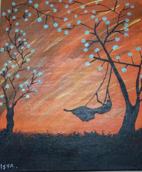 GIRL, SWING, SPARKLE, TREE, BEAUTIFUL,THE GIRL ON THE SWING.,ART_1873_15445,Artist : Ishrat Tajani,Acrylic