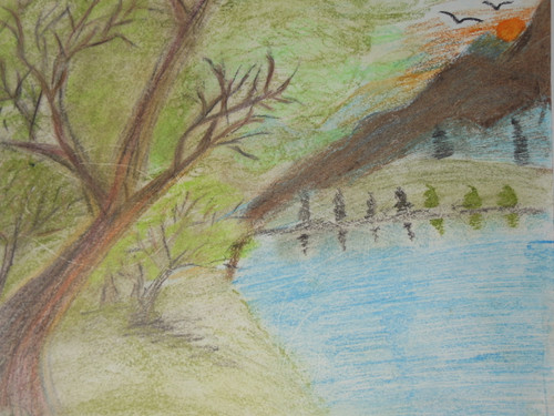 FOREST WITH NATURAL GREENERY.,NATURAL NATURE.,ART_1886_15397,Artist : POONAM PAUL,Pastels