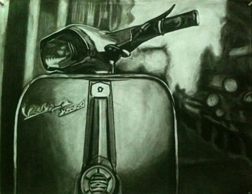 Scooter, Black and white, charcoal,Scooter,ART_1898_15475,Artist : Ravish Choudhary,Charcoal