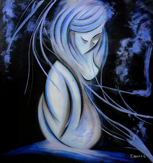 cute girl paintings,girl paintings,blue paintings,56Figure86,MTO_1550_15521,Artist : Community Artists Group,Mixed Media