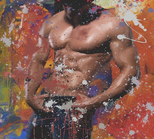 body  men paintings,muscles paintings,macho paintings,56Figure72,MTO_1550_15492,Artist : Community Artists Group,Mixed Media