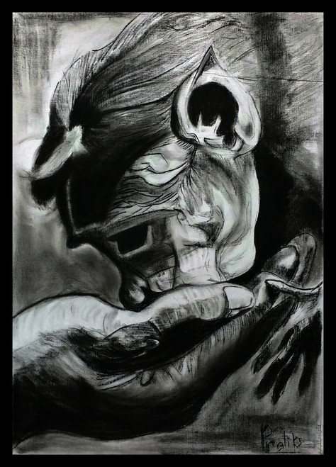 Relationship, Charcoal, Trust, feelings, Black and white, Wildlife, Animals,Trust,ART_1830_14771,Artist : Pratip Dasgupta,Charcoal