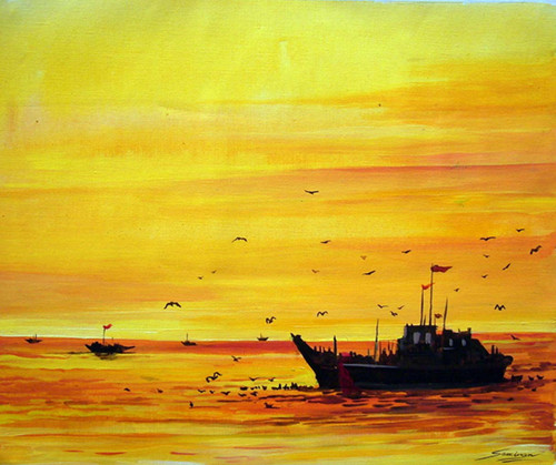 fishing boat,sunset,landscape,nature,,Fishing Boats at Sunset,ART_1232_14228,Artist : SAMIRAN SARKAR,Acrylic