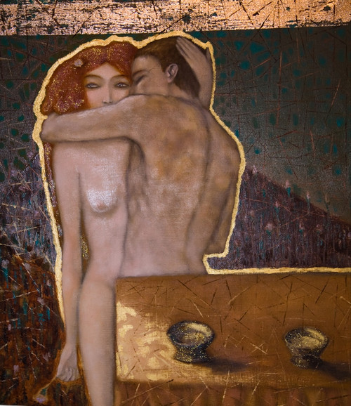 nude lady and boy paintings,56Figure121,MTO_1550_15551,Artist : Community Artists Group,Mixed Media