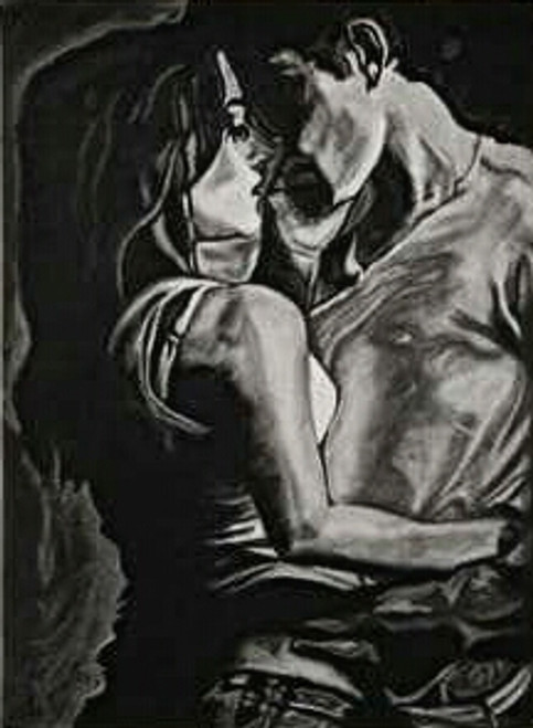 Couple, love, romance, charcoal, black and white,Couple's goal 2,ART_1898_15648,Artist : Ravish Choudhary,Charcoal