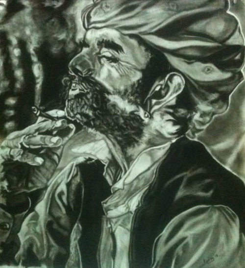 Smoke, Rajasthan, Rajasthani, Black and White,Beparwah,ART_1898_15645,Artist : Ravish Choudhary,Charcoal