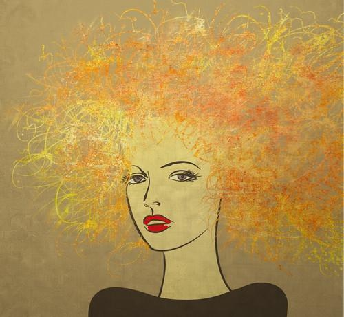 lady paintings,attitude paintings,modern paintings,56Figure220,MTO_1550_15697,Artist : Community Artists Group,Mixed Media
