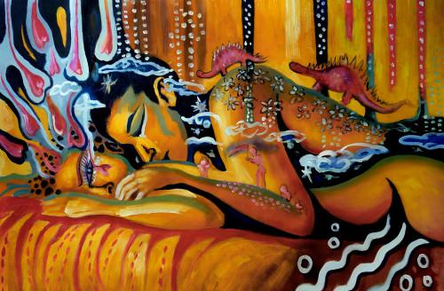 romance paintins,love paintings,56Figure210,MTO_1550_15690,Artist : Community Artists Group,Mixed Media